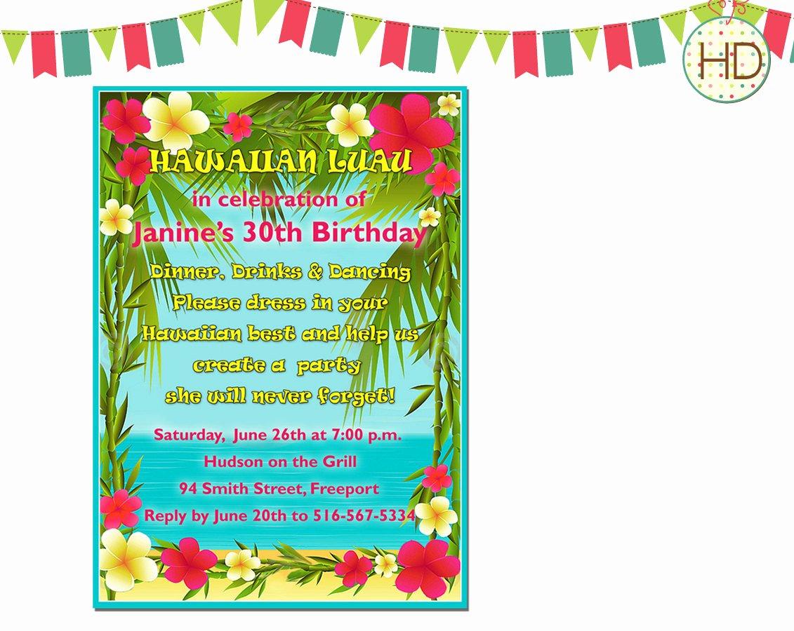 Hawaiian themed Invitation Templates Free Unique Hawaiian Luau Invitation Beach Party Birthday by Hdinvitations