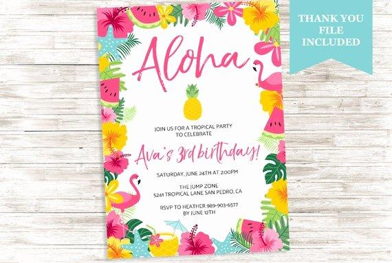 Hawaiian themed Invitation Templates Free Unique Luau Aloha Birthday Invite Hawaiian Invitation Flamingo