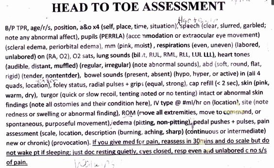 Head to toe assessment Template Fresh 17 Best Ideas About Nursing Documentation On Pinterest