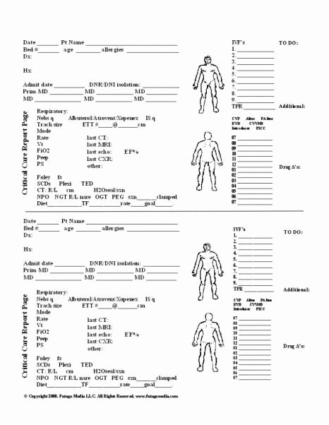 Head to toe assessment Template Lovely Nursing Report Sheets Nursing