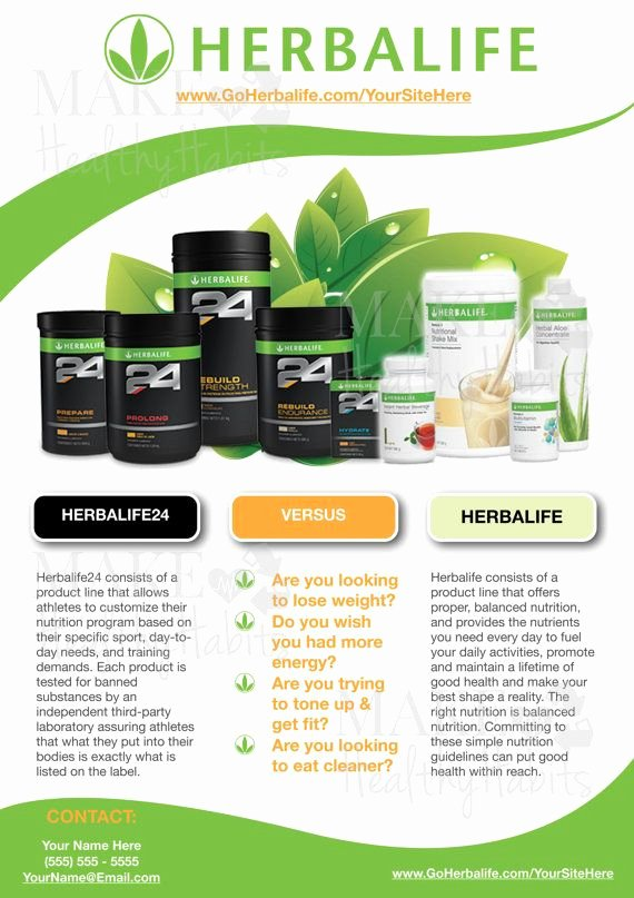 Herbalife Flyer Template Unique Custom Print Ready Herbalife Contact Flyer by