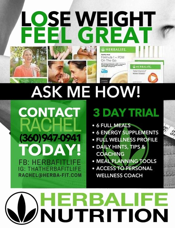 Herbalife Flyer Templates Awesome Customized Herbalife 3 Day Trial Black & Green by