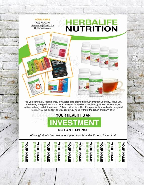Herbalife Flyers Template Inspirational Custom Print Ready Herbalife Energy Products Contact Flyer