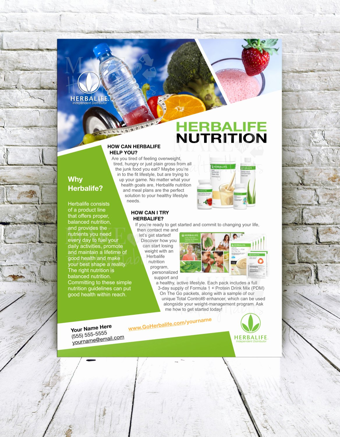 Herbalife Flyers Template Lovely Custom Print Ready Herbalife Contact Flyer by