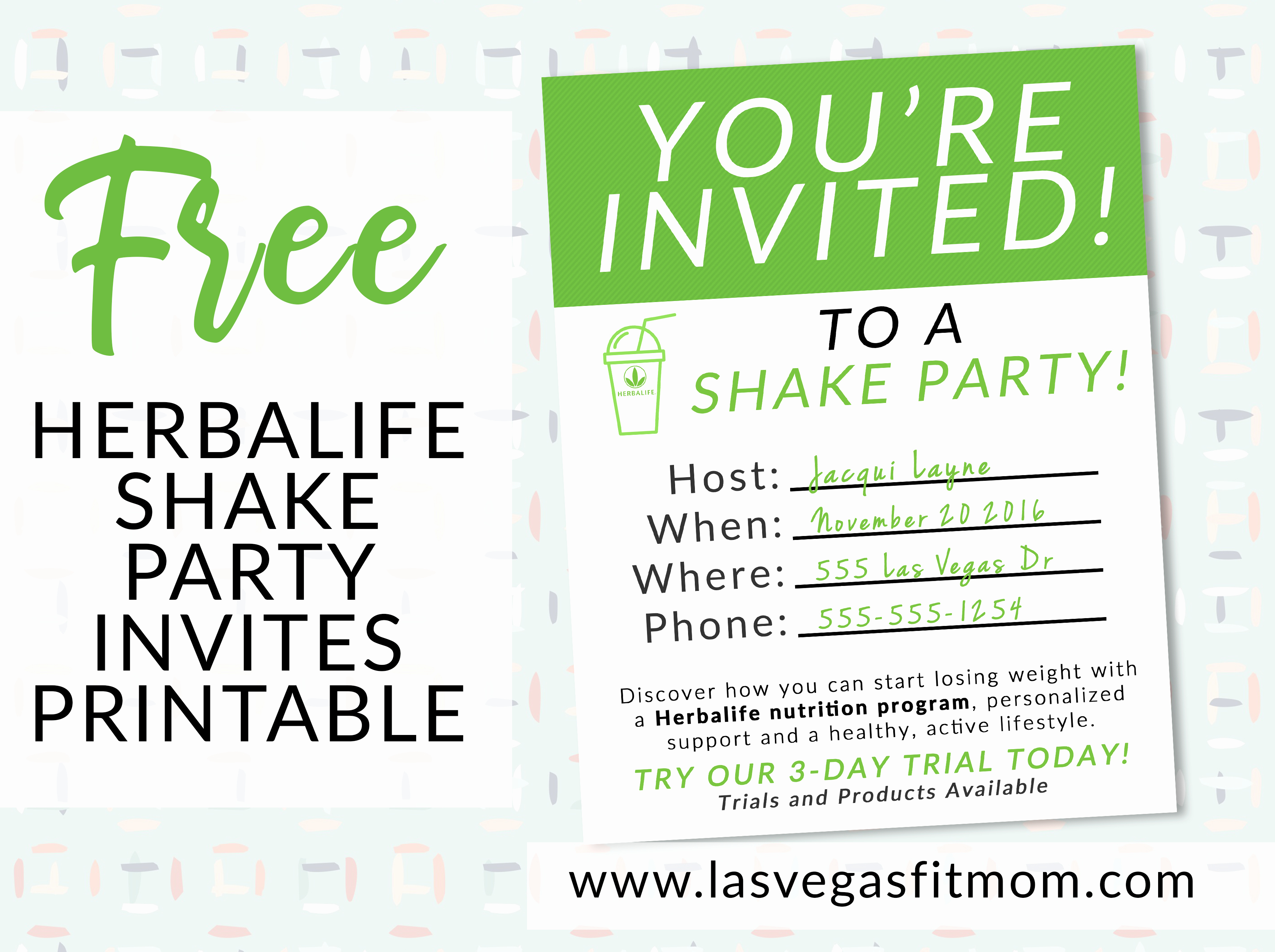 Herbalife Shake Party Luxury Herbalife Shake Party Invites – Free Printable – Las Vegas