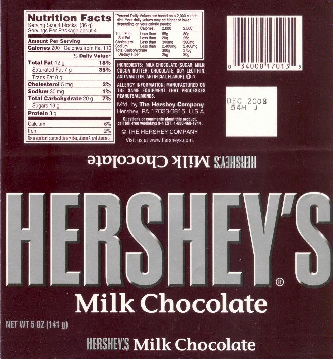 Hershey Bar Wrapper Dimensions Unique File Hershey S Milk Chocolate Wrapper 2008