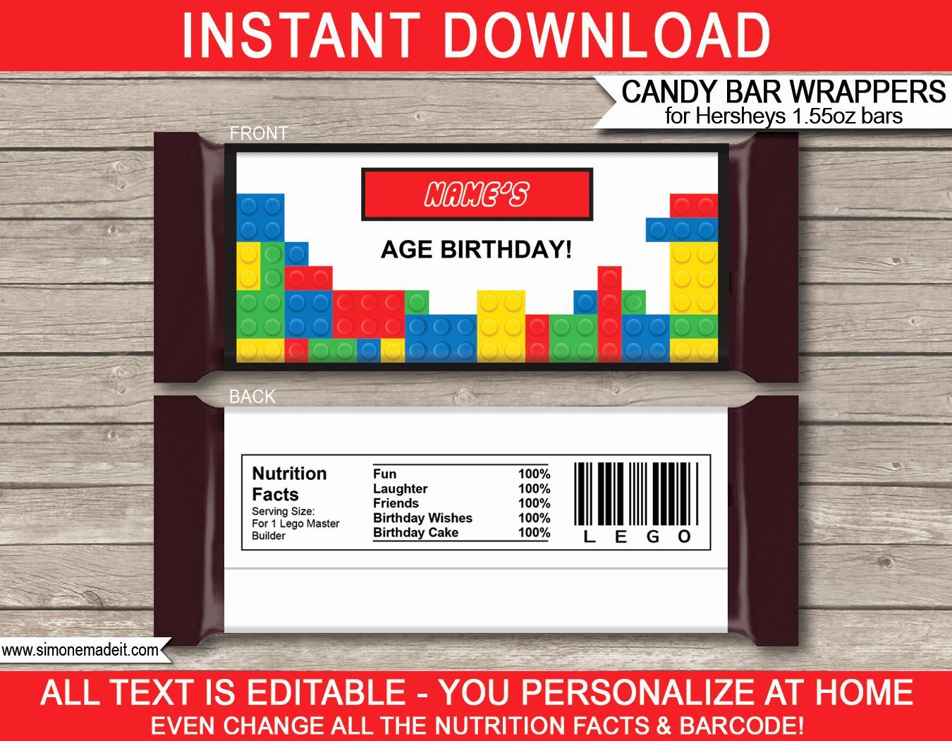 Hershey Bar Wrapper Template Free New Lego Hershey Candy Bar Wrappers