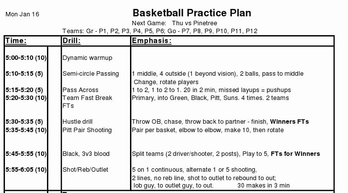 High School Football Practice Schedule Template Best Of 30 Of Basketball Practice Template Sheets