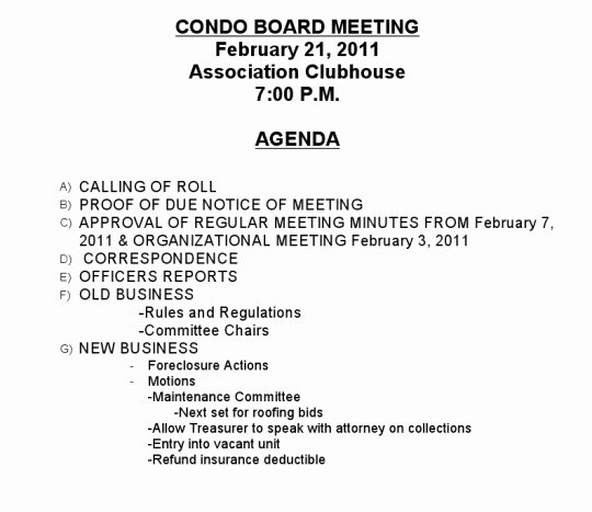 Hoa Board Meeting Minutes Template Beautiful Monday Night – Board Meeting – Village Condominium
