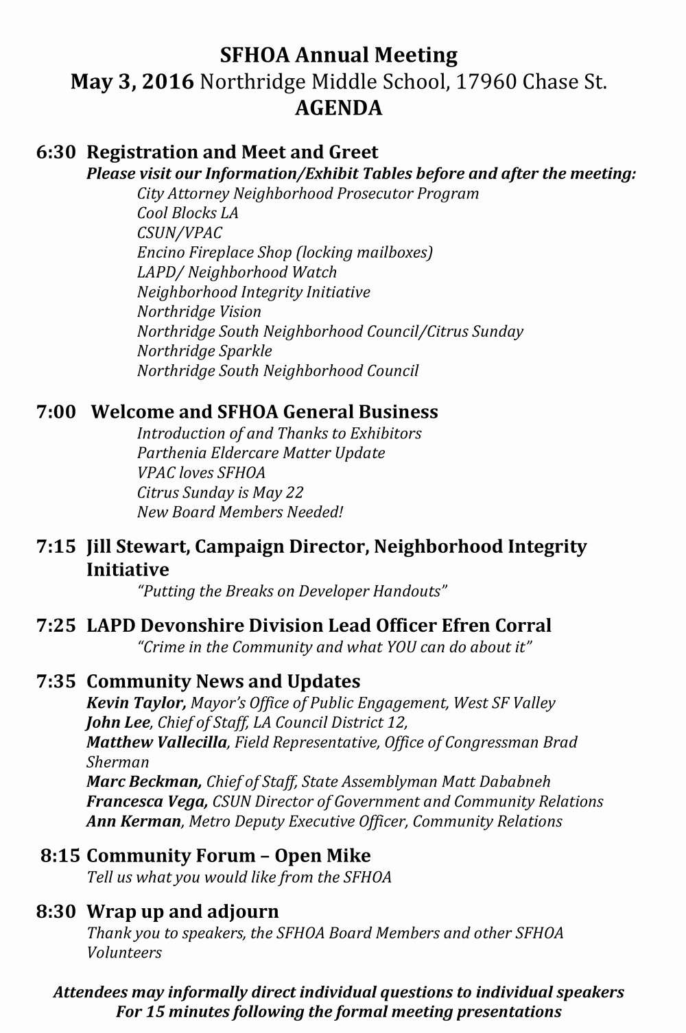 Hoa Board Meeting Minutes Template Beautiful Sherwood forest Hoa Annual Meeting May 3 2016