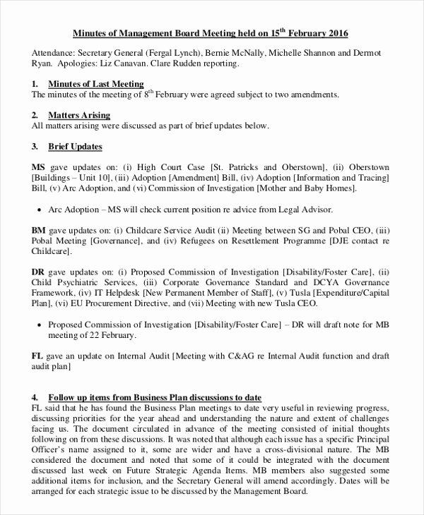 Hoa Board Meeting Minutes Template Fresh 17 Board Meeting Minutes Examples