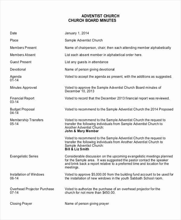 Hoa Board Meeting Minutes Template Lovely 17 Board Meeting Minutes Examples