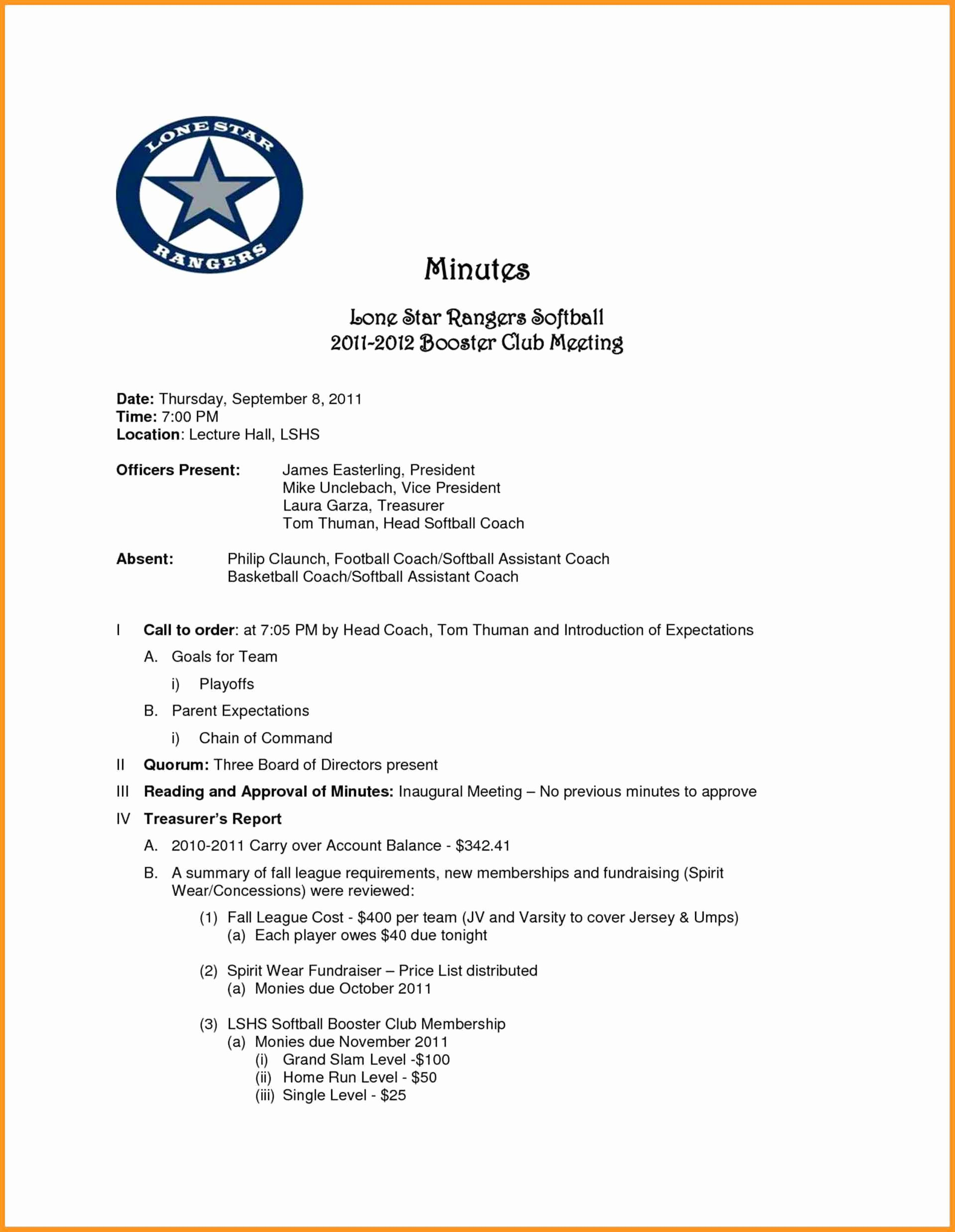 Hoa Board Meeting Minutes Template Lovely 8 9 Minutes Examples