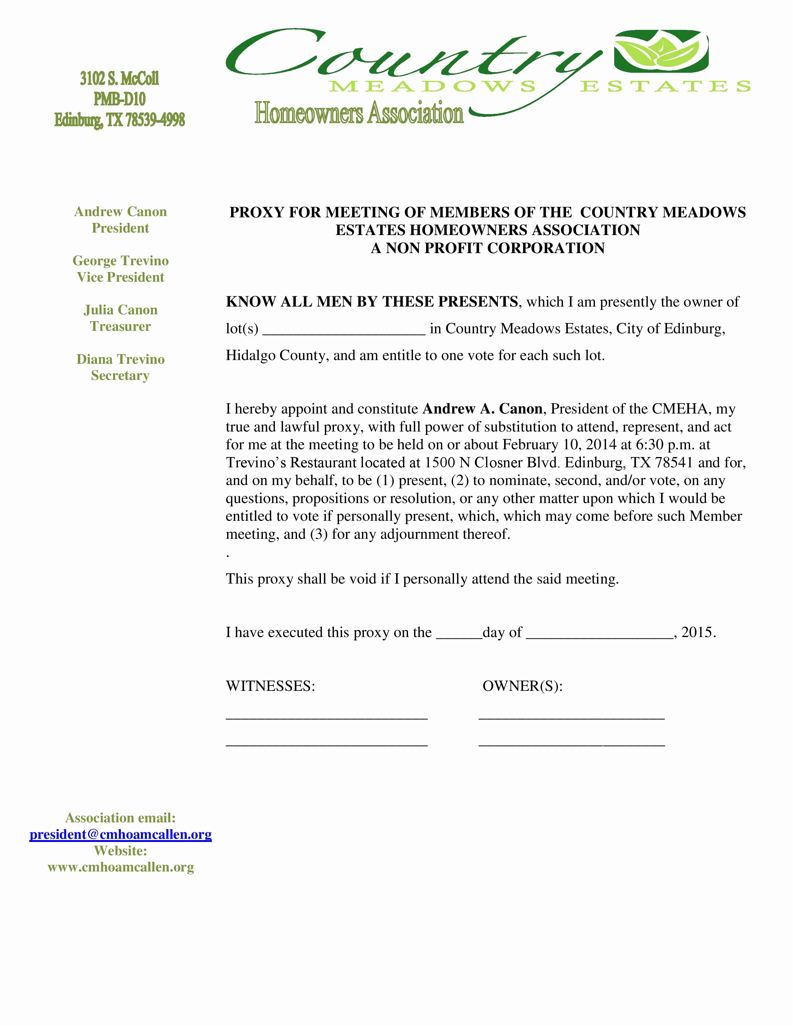 Hoa Proxy Vote form Template Awesome Hoa Meeting Proxy Letter