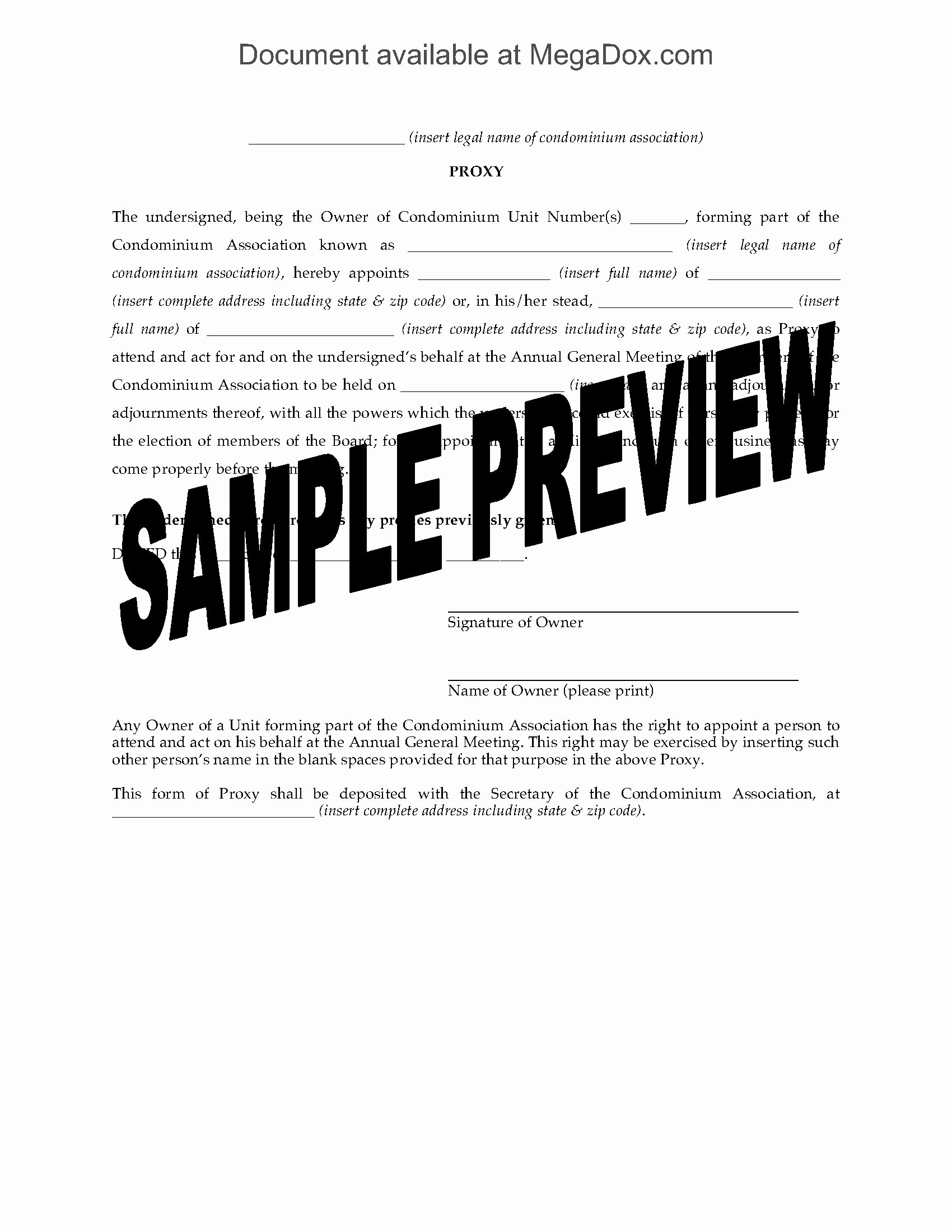 Hoa Proxy Vote form Template Awesome Usa Proxy form for Condo association Agm