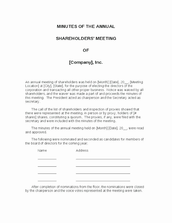 Hoa Proxy Vote form Template Fresh Hoa Meeting Minutes Template