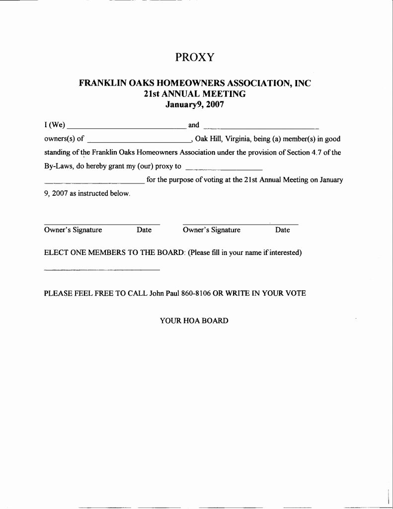 Hoa Proxy Vote form Template Fresh Proxy Letter Sample Fashiontradefairs