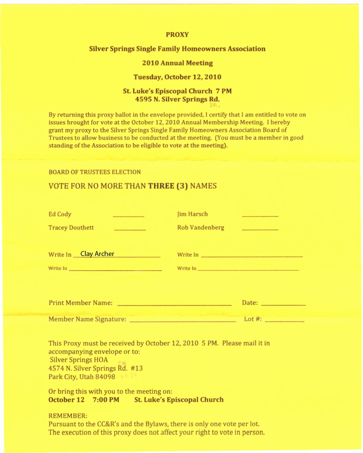 Hoa Proxy Vote form Template Unique Silver Springs Munity2010 Oct 12 – Sssf Hoa Annual Meeting