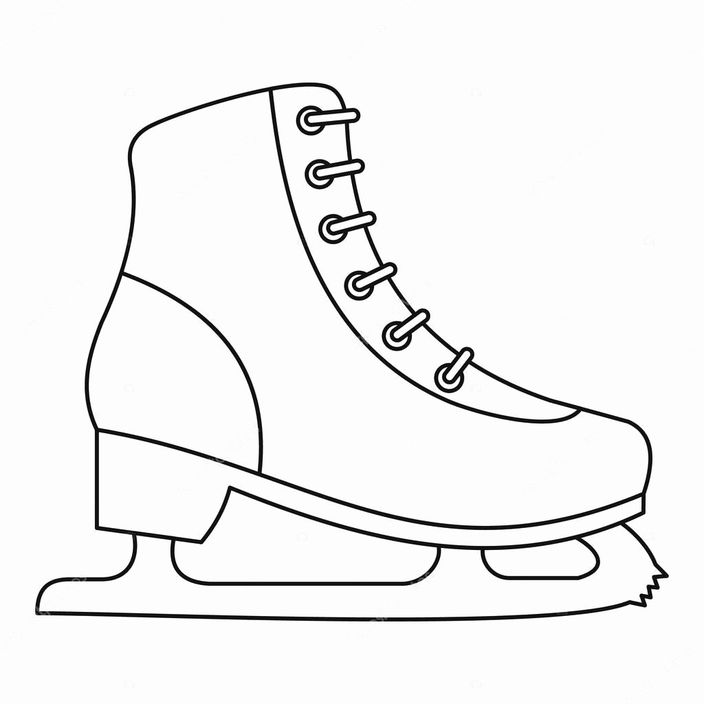 Hockey Skate Template Free Printable Beautiful Schlittschuh Symbol Umriss Stil — Stockvektor
