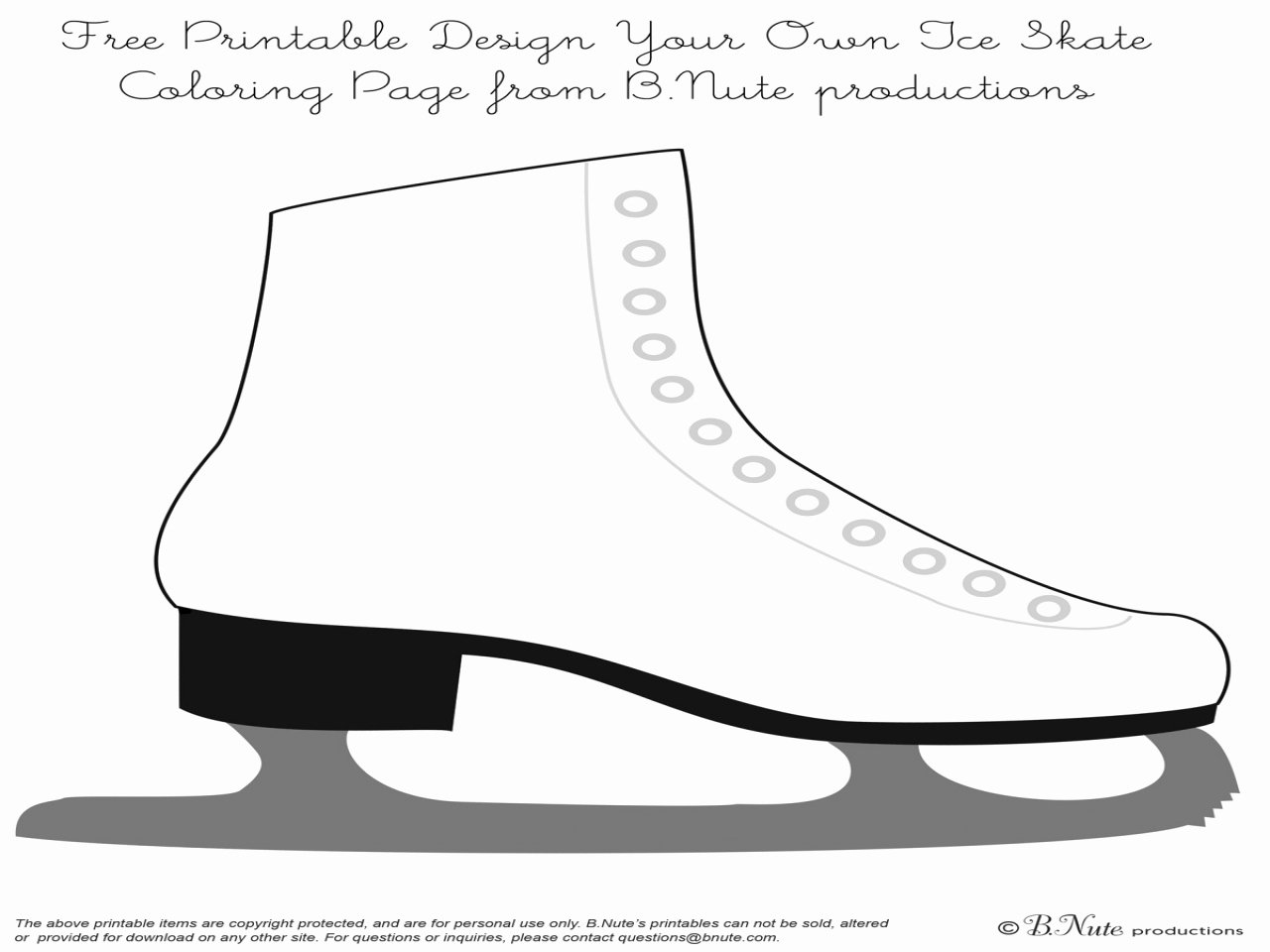 Hockey Skate Template Free Printable New Figure Skates Coloring Ice Skating Pages Grig3
