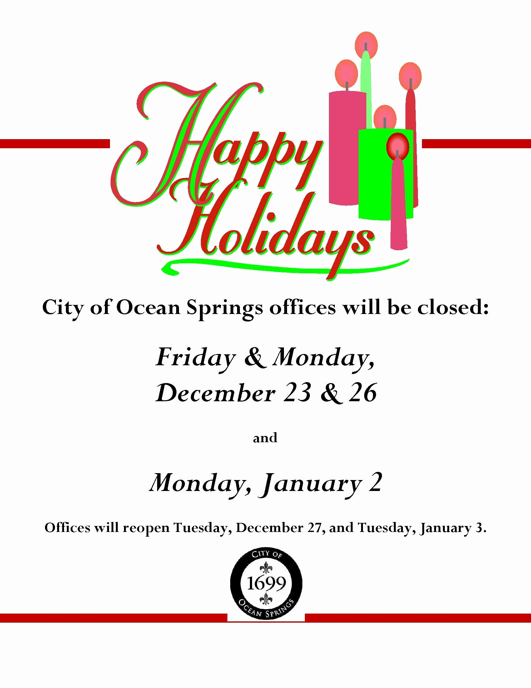 Holiday Closed Sign Template Awesome Notice Fice Closure Dates for Holidays