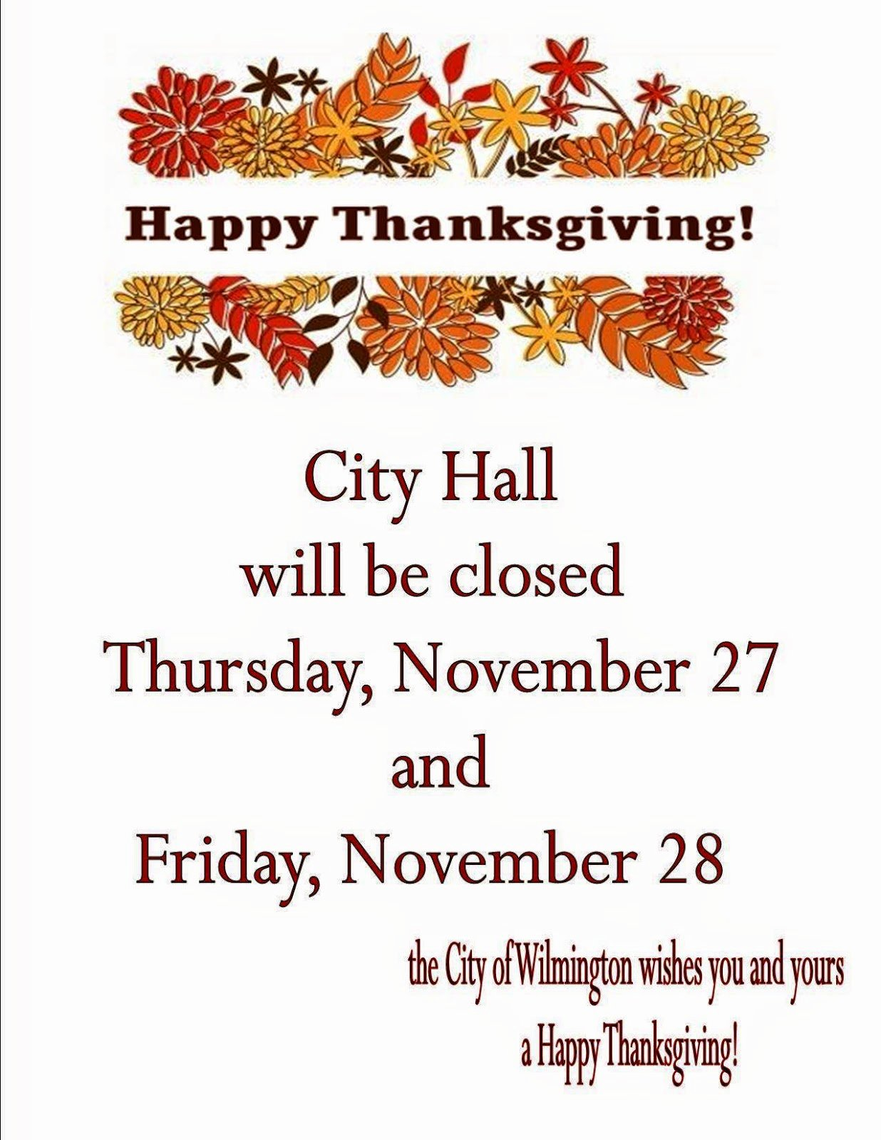 """Holiday Closed Sign Template Fresh City Of Wilmington """"news and Updates"""""""