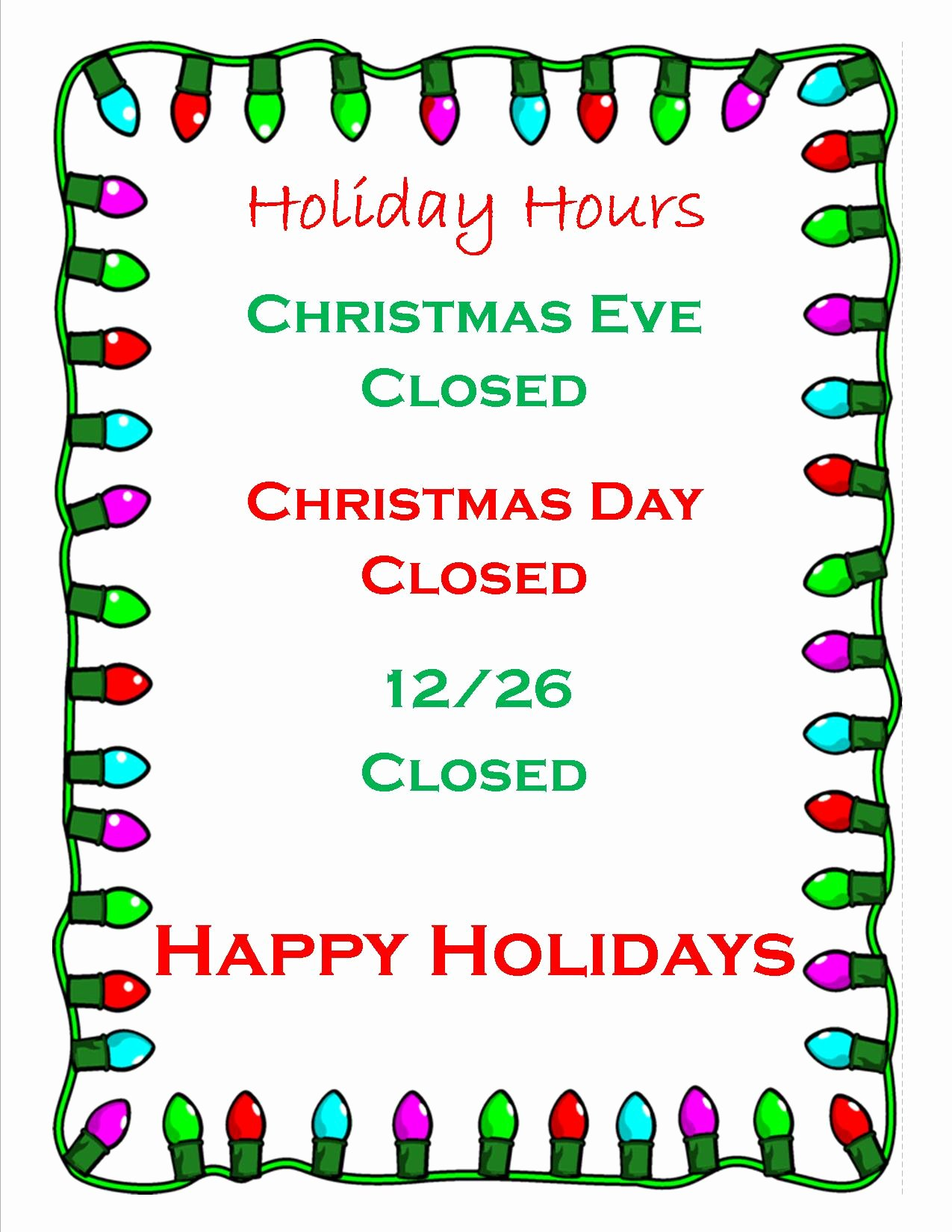 Holiday Hours Sign Template Fresh Business Fice Closed for Holidays Keizer Fire District