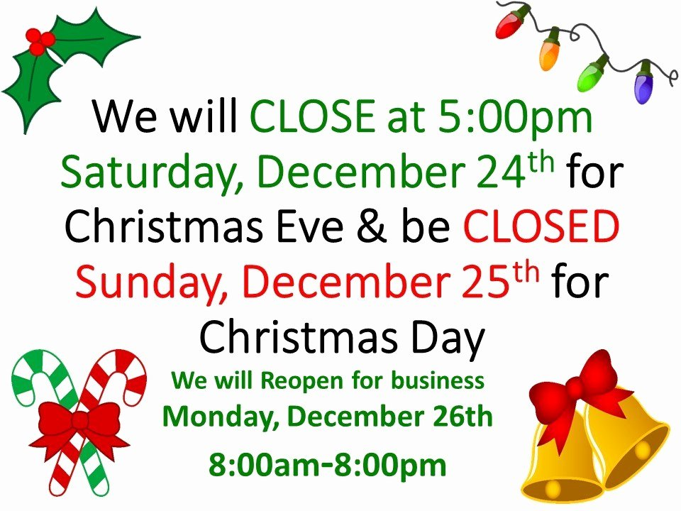Holiday Hours Sign Template Fresh Christmas Holiday Closed Signs