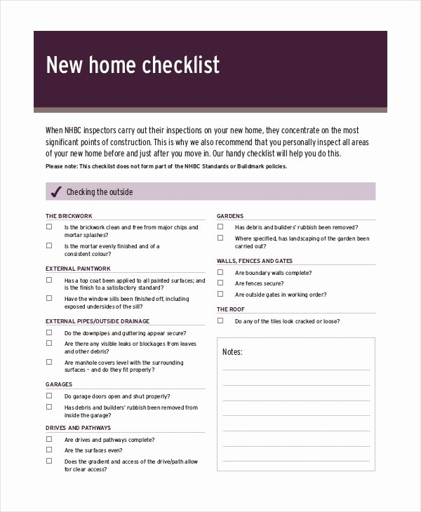Home Building Checklist Template Beautiful House Inspection Checklist 14 Pdf Word Download