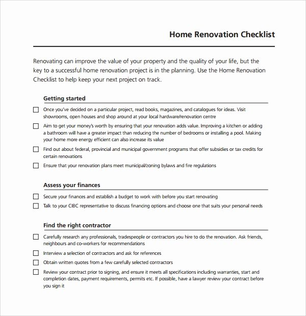 Home Building Checklist Template Best Of Sample Renovation Checklist Template 9 Free Documents