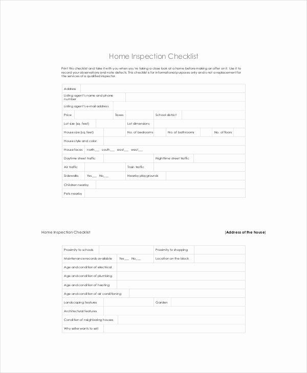 Home Building Checklist Template Elegant House Inspection Checklist 14 Pdf Word Download