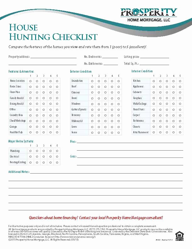 Home Building Checklist Template Lovely House Hunting Checklist Prosperity Home Mortgage Llc
