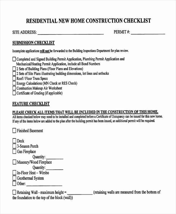 Home Building Checklist Template Luxury 10 Construction Checklist Templates Free Pdf Word
