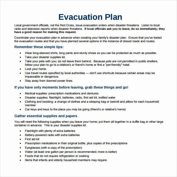 Home Evacuation Plan Template Unique Sample Evacuation Plan Template 9 Free Documents In Pdf