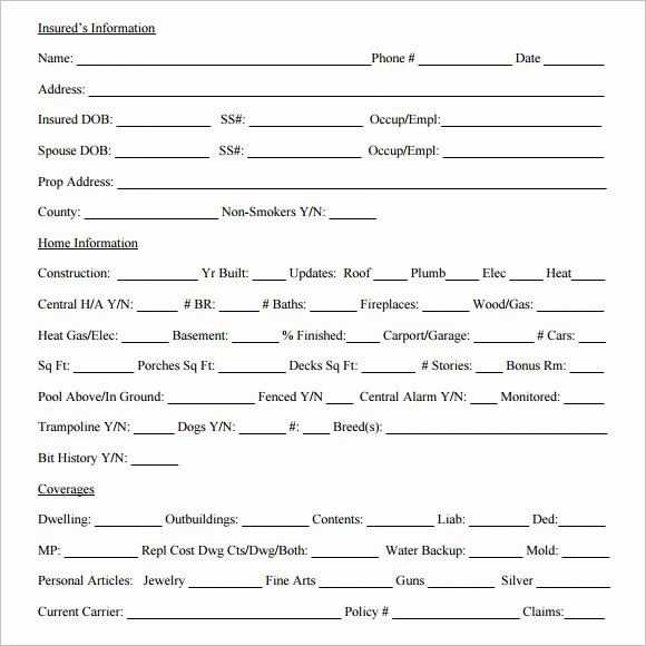 Home Insurance Quote Sheet Awesome Sample Quote Sheet 10 Examples format