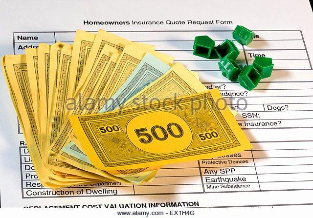 Home Insurance Quote Sheet Fresh Play Money Stock S & Play Money Stock Alamy