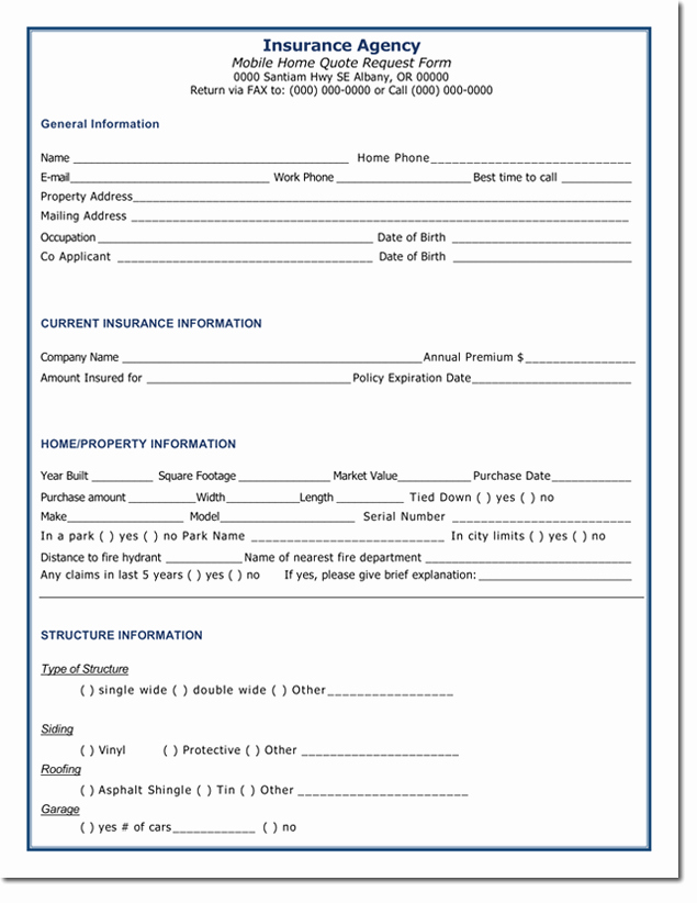 Home Insurance Quote Sheet Inspirational Home Insurance Quotation form Template