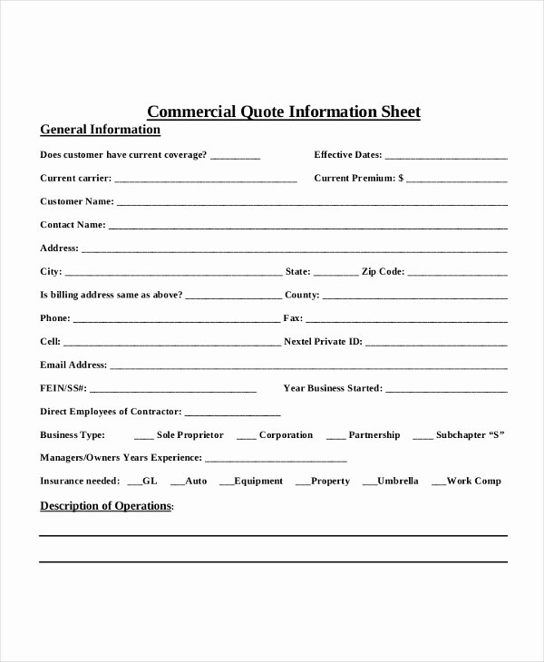 Home Insurance Quote Sheet Lovely 7 Quote Sheet Template Word Pdf