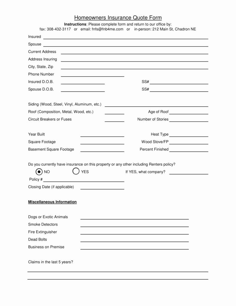 Home Insurance Quote Sheet New 6 Insurance Quote Templates Pdf