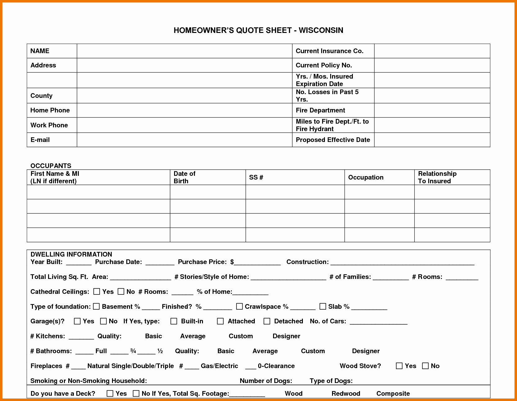 Home Insurance Quote Sheet New Home Insurance Quote Sheet Template 22