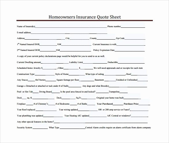 Home Insurance Quote Sheet Unique Home Insurance Quote form