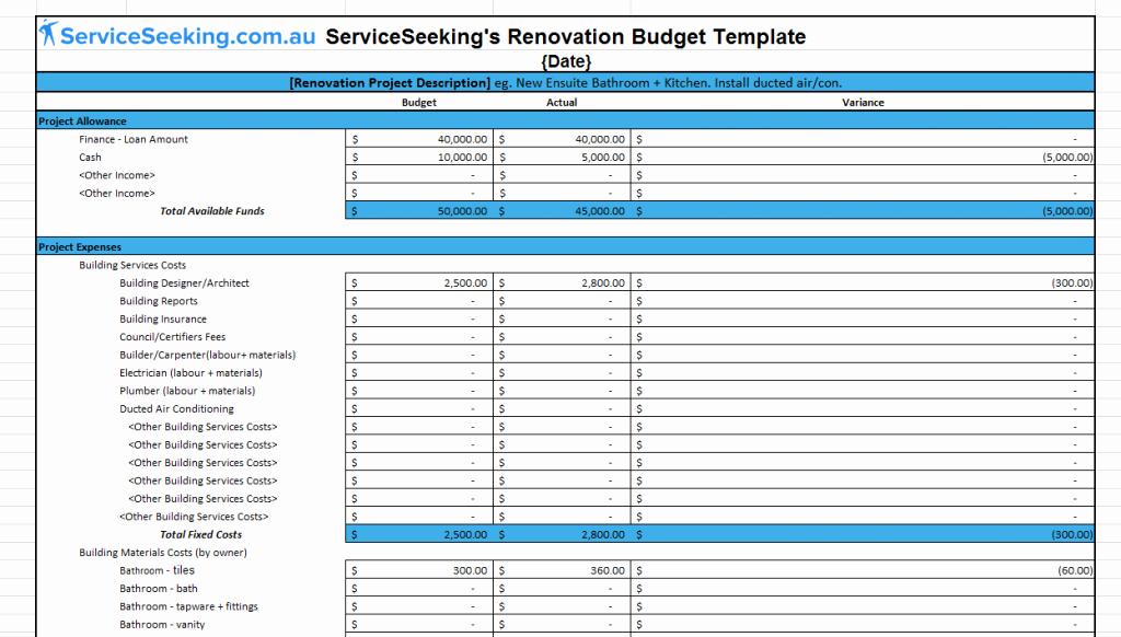 Home Renovation Checklist Template Inspirational Free Renovation Bud Template Spreadsheet