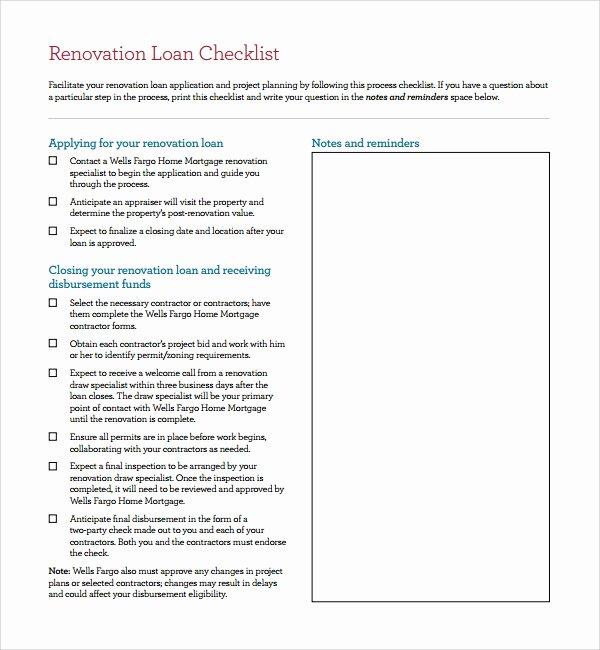 Home Renovation Checklist Template Inspirational Sample Renovation Checklist Template 9 Free Documents