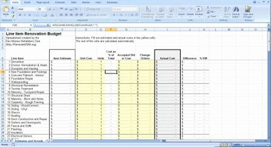 Home Renovation Project Plan Template Awesome Renovation Construction Bud Spreadsheet Implementing
