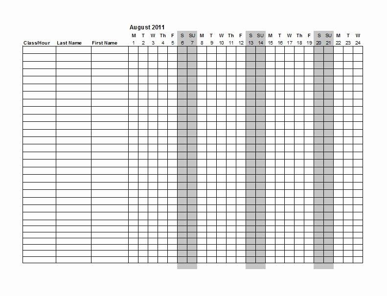 Homeschool attendance Record Excel Beautiful 38 Free Printable attendance Sheet Templates Free