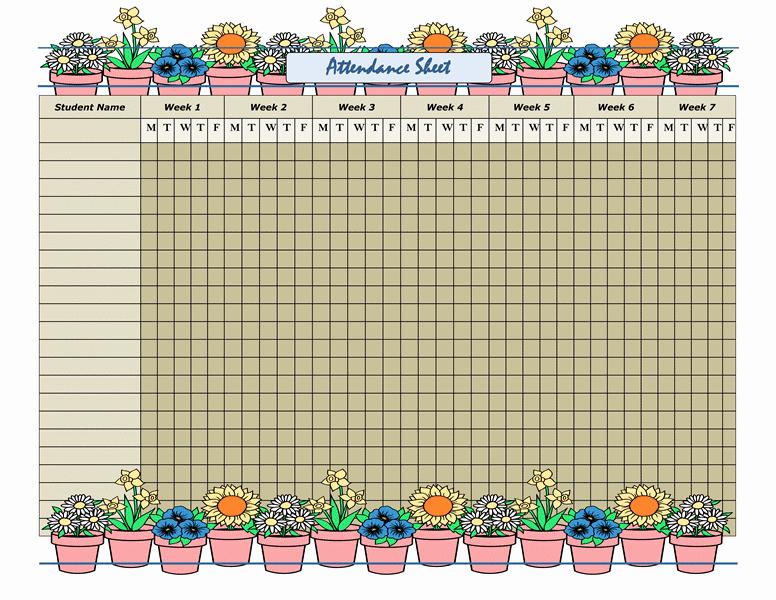 Homeschool attendance Record Excel Fresh attendance Sheet Templates Fice