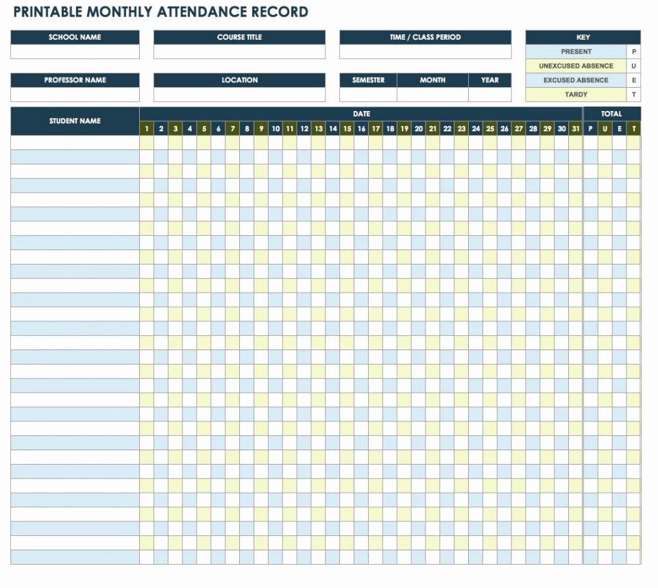 Homeschool attendance Record Excel Fresh Free attendance Spreadsheets and Templates