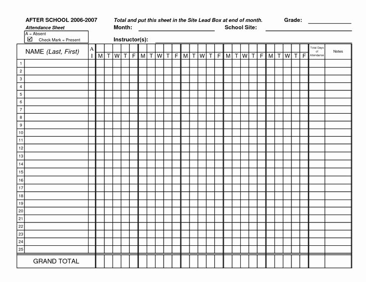Homeschool attendance Record Excel Inspirational Blank attendance Sheets