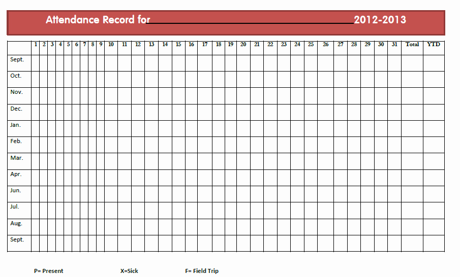 Homeschool attendance Record Excel Inspirational Monthly Printable Homeschool attendance Sheets