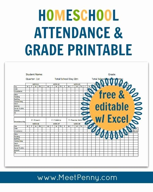 Homeschool attendance Record Excel Luxury Homeschool attendance and Grades Printable